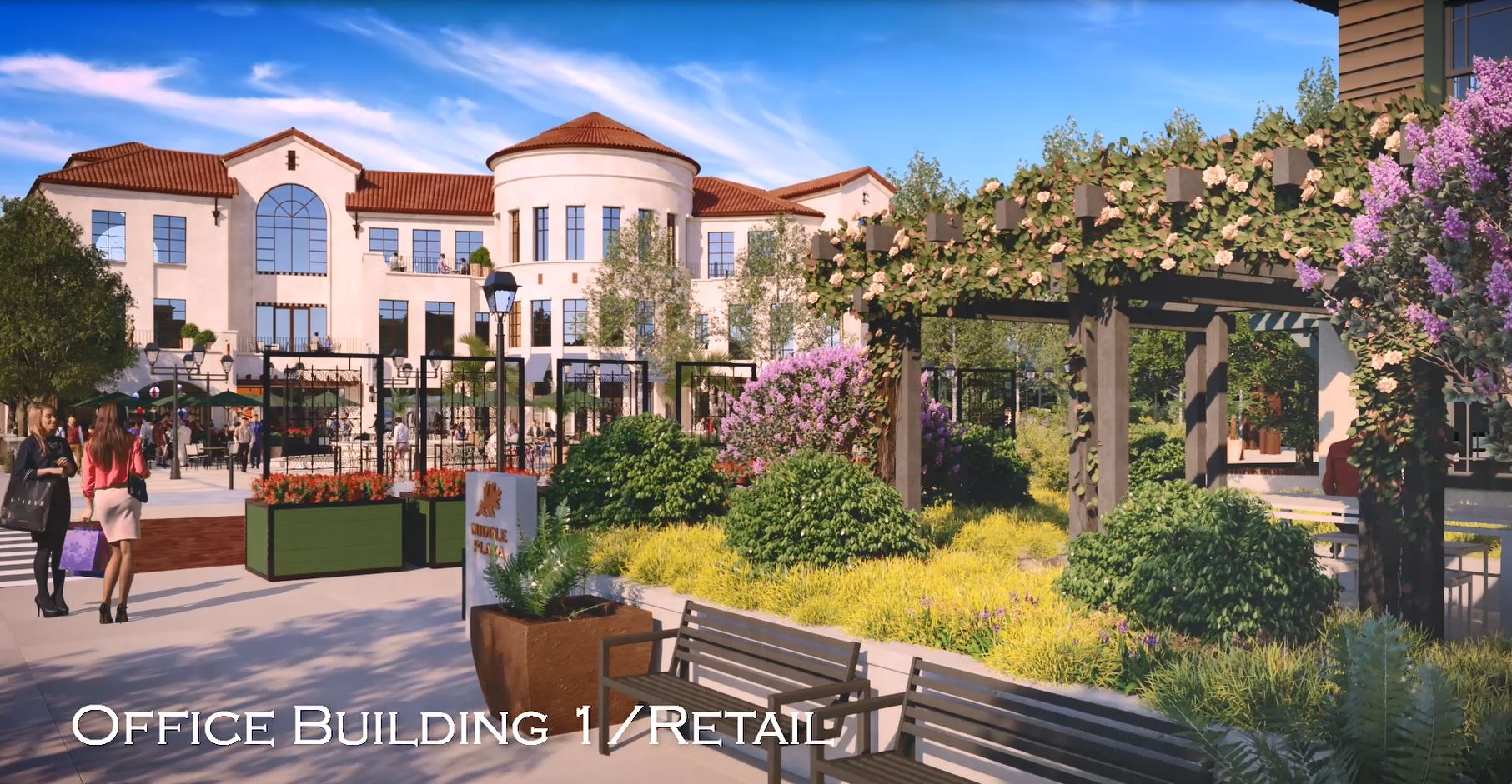 Rendering of Ground View of Office/ Retail Building and Square
