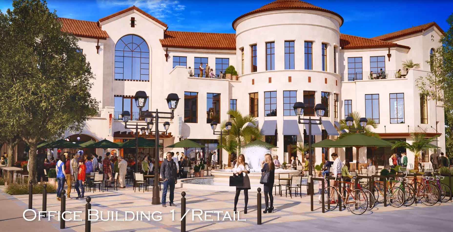Rendering of Street View of Office / Retail Building and Square
