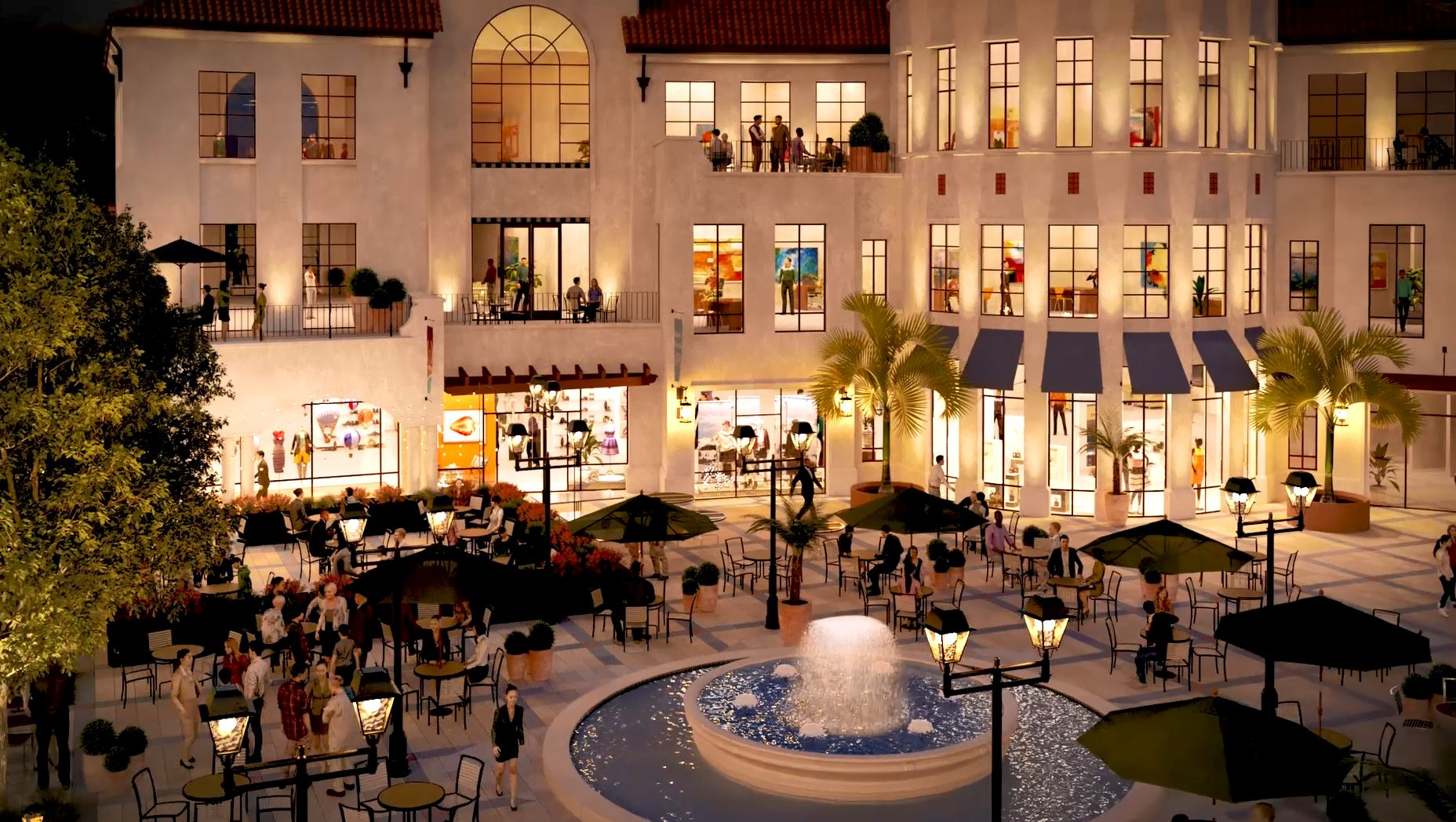 Rendering of Office / Retail Building and Square at Night