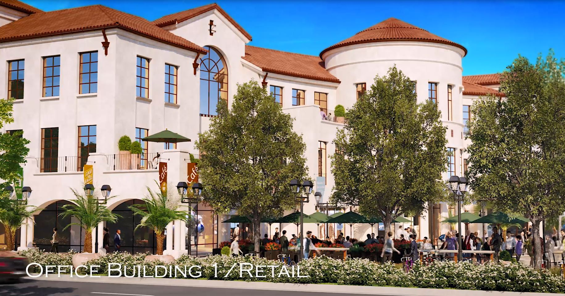 Rendering of El Camino Real View of Office / Retail Building and Square