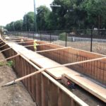 Bioswale Construction, Wall and Footing Rebar near Train Tracks - August 2020