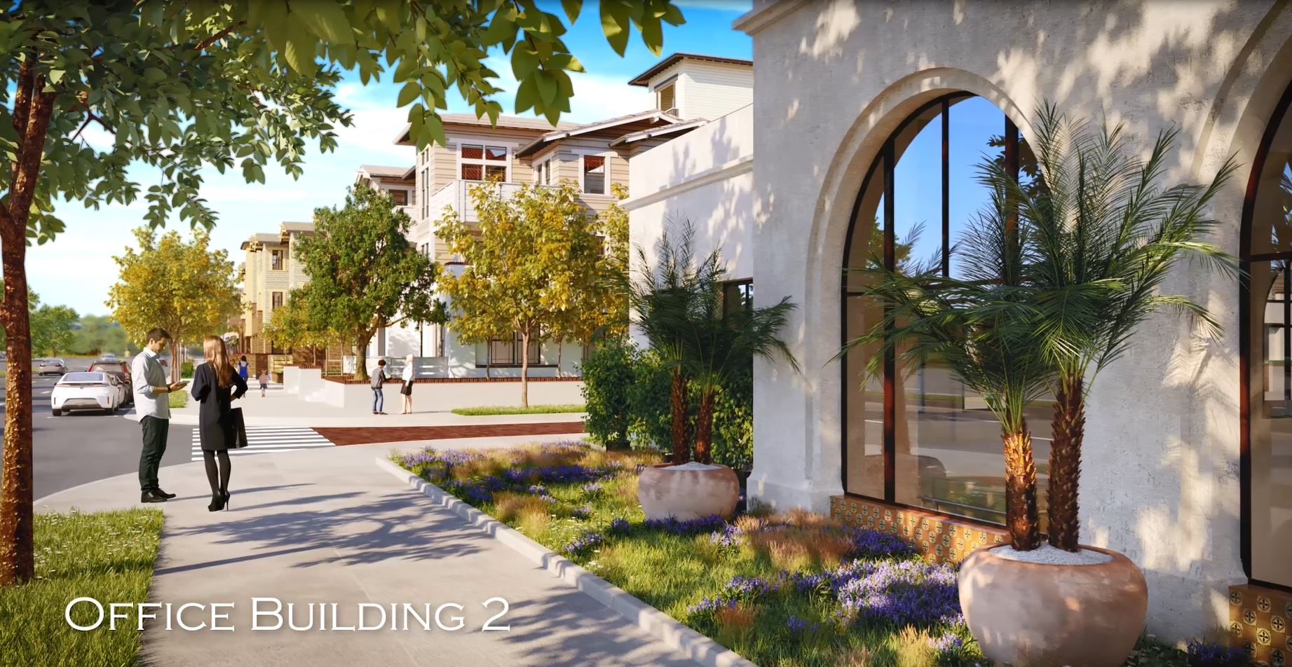 Rendering of El Camino Real View of Office Building 2