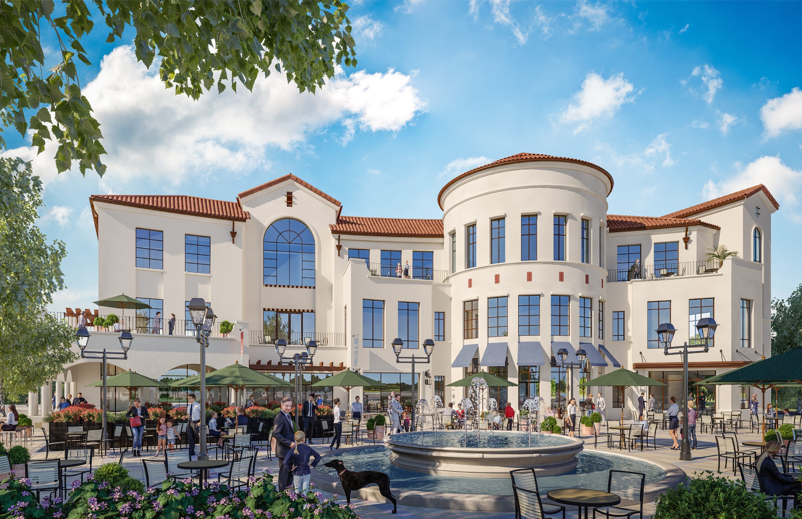 Rendering of Northern Office/Retail building overlooking Middle Plaza