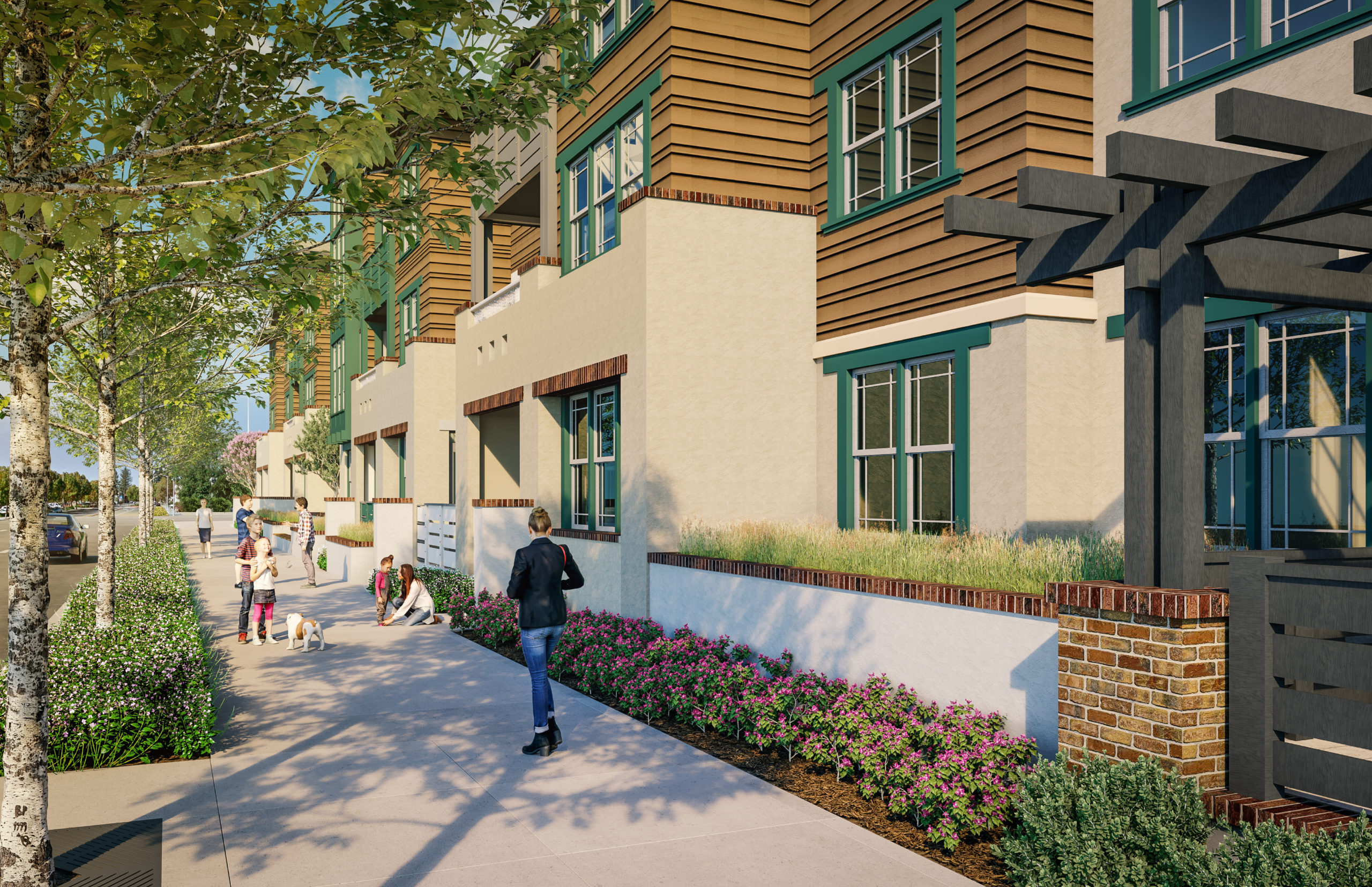 Rendering of El Camino Real streetscape as seen from the Residential portion of Middle Plaza