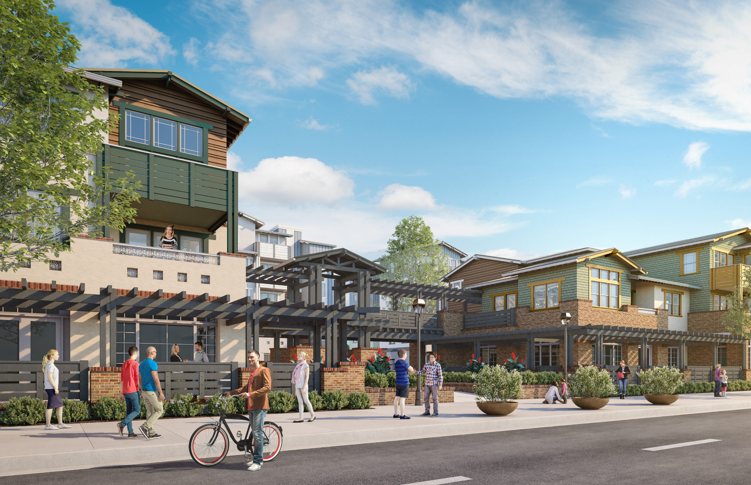 Rendering of Entrance into the apartments as seen from El Camino Real