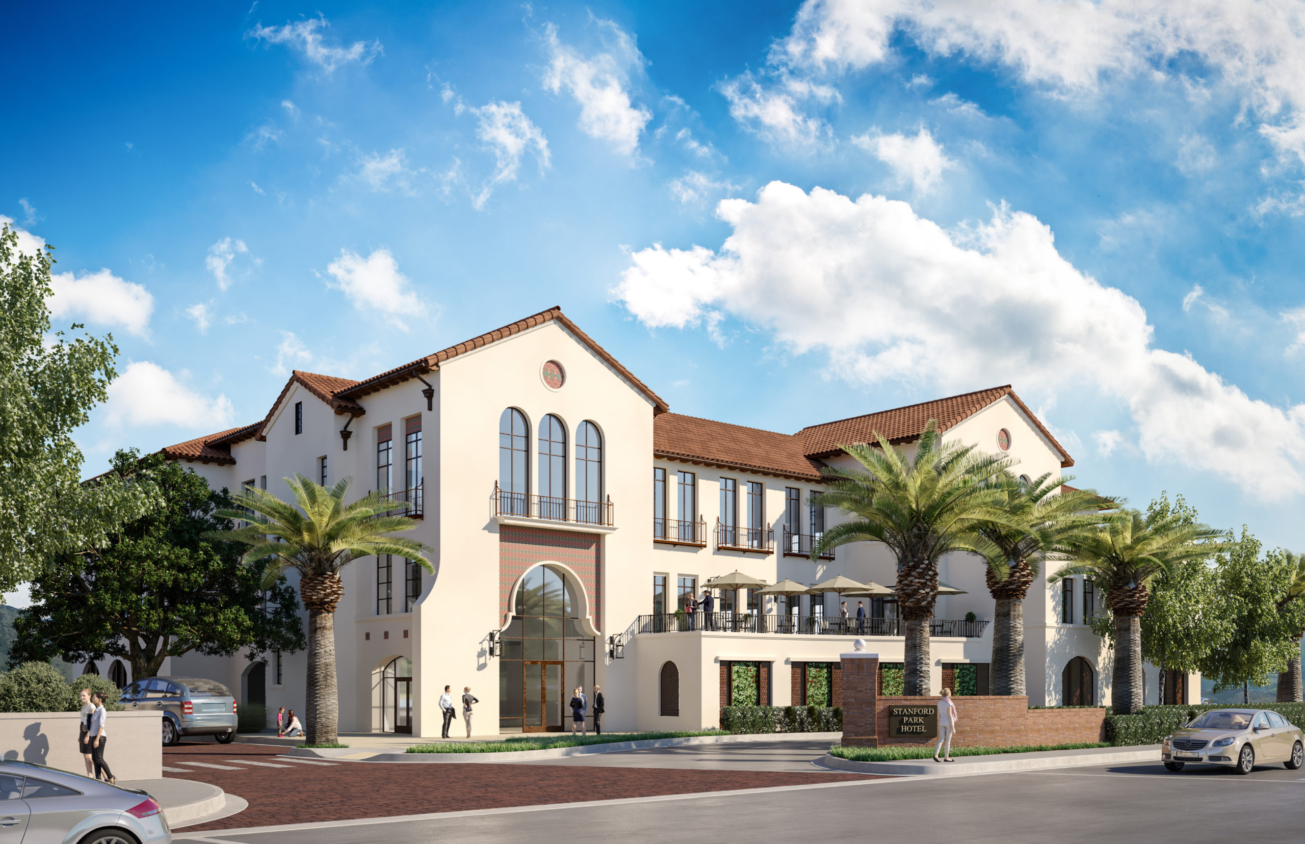 Rendering of The southernmost Office building as viewed from El Camino Real