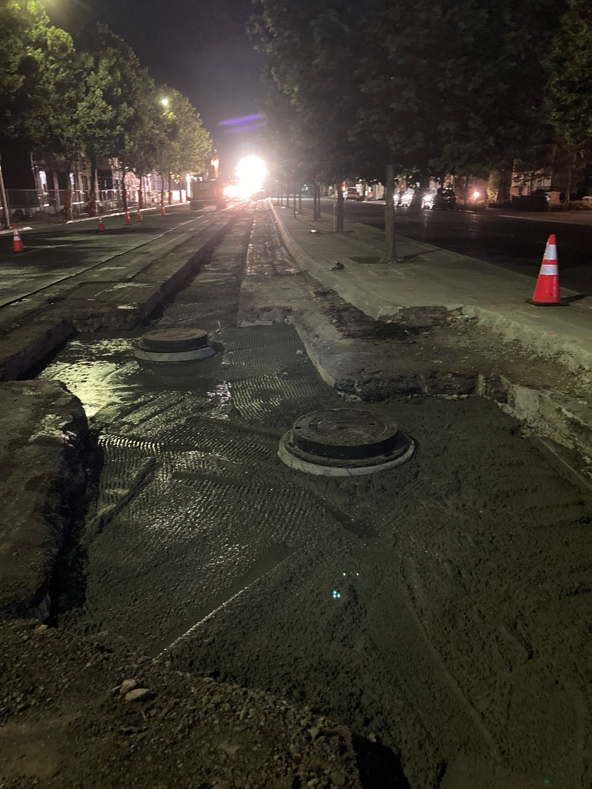 Pouring Slurry and Installing Concrete Cap on El Camino Real – August 2021